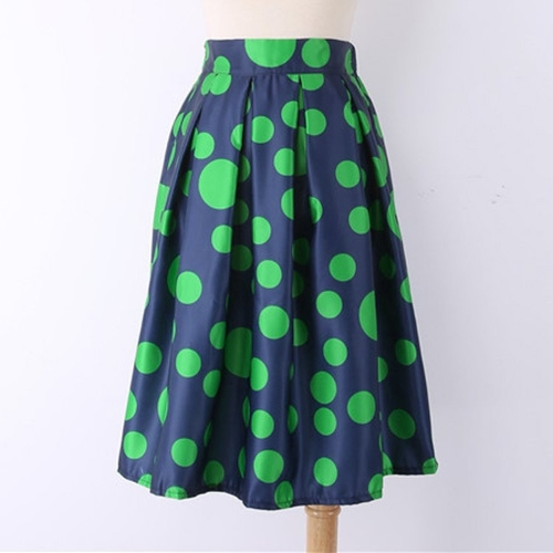 Fashion Women Polka Dots Print Elastic High Waist Pleated Midi Skirt