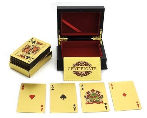 Watsopano 24K Karat Gold Foil Plated EUR Poker Kusewera Khadi ndi Wood Box ndi Certificate