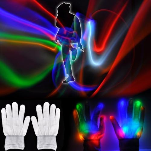 Magic Mitts LED Optical Fiber Gloves Multicolor Raver Party Dance Flashing Gloves White