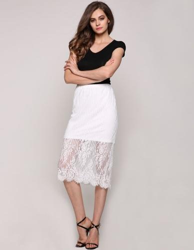 Casual nuevo de la manera elegante dulce señora de las mujeres atractivas del cordón floral debajo de la rodilla falda recta
