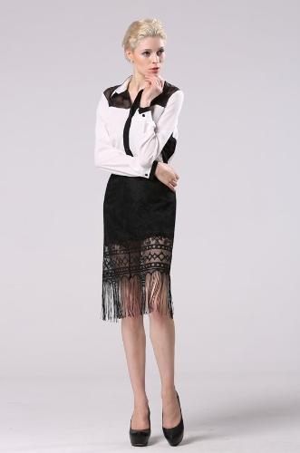 Sexy flecos de encaje negro de la manera de la cadera de las mujeres falda paquete Badycon
