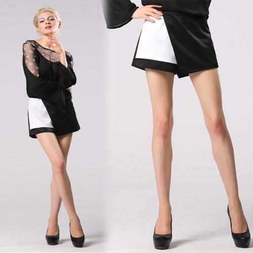 Stilvolle Dame Frauen Culottes Unregelmäßige Splicing Patchwork Kurz