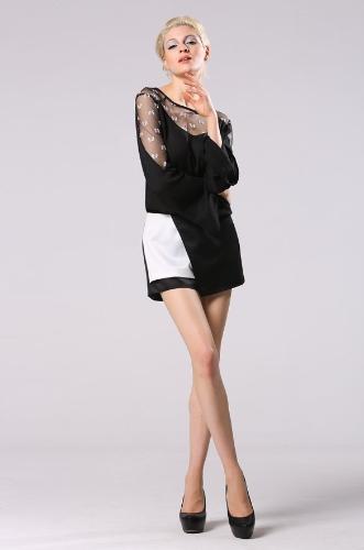 Señora elegante de la Mujer Falda pantalón corto irregular empalme remiendo
