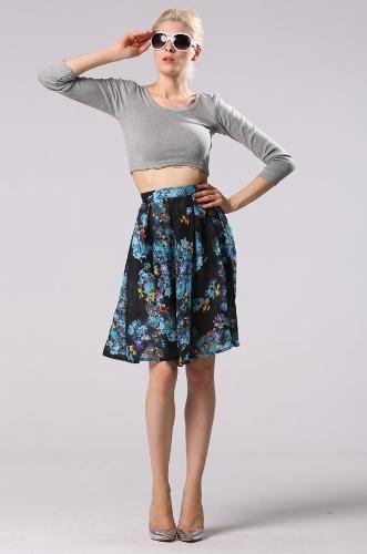 Moda de la rodilla-longitud del estilo de la señora de las mujeres atractivas impresas florales falda plisada