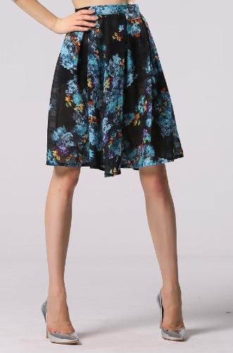 Moda Joelho de comprimento da senhora à moda Mulheres Sexy Floral Impresso saia plissada