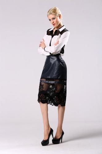 Remiendo de la manera estilo de la señora de las mujeres atractivas debajo de la rodilla falda de Midi de partido ocasional Negro