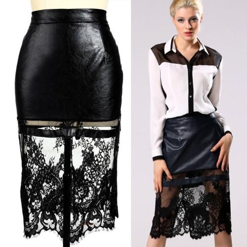 Moda Patchwork das senhora à moda Mulheres Sexy Abaixo do joelho saia de Midi Casual Black Party