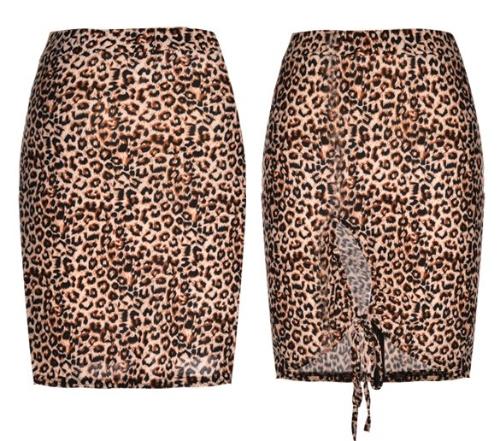 Stylowa Lady Kobiety Sexy Leopard BODYCON Pakiet Hip Casual Party Pencil Skirt