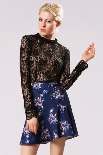 Señora elegante floral de las mujeres del verano de impresión de alta cintura de la falda corta Casual