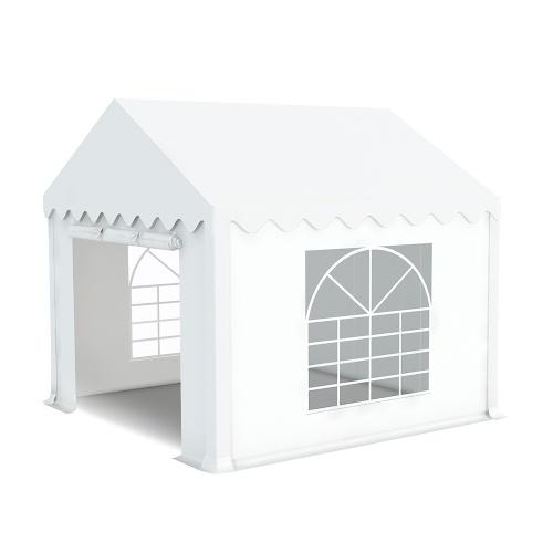 Tente de réception 3x3m pvc 480g/m2 tube38mm Classique avec oeillets en inox Blanc uni.