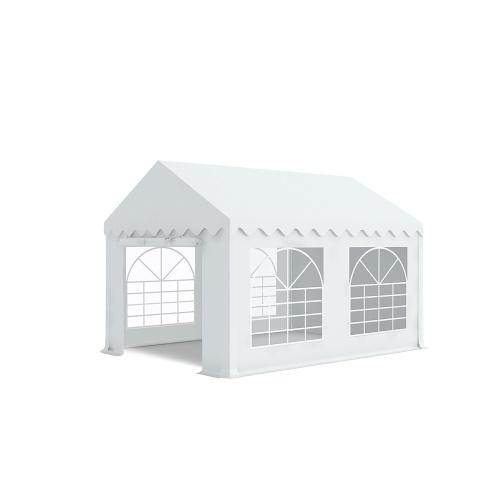Tente de réception 3x4m pvc 480g/m2 tube38mm Classique avec oeillets en inox Blanc uni.