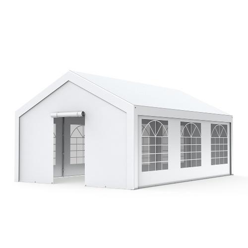 Tente de réception Premium - Chapiteau 3x6m en PE 180g/m² avec œillets en inox Blanc uni
