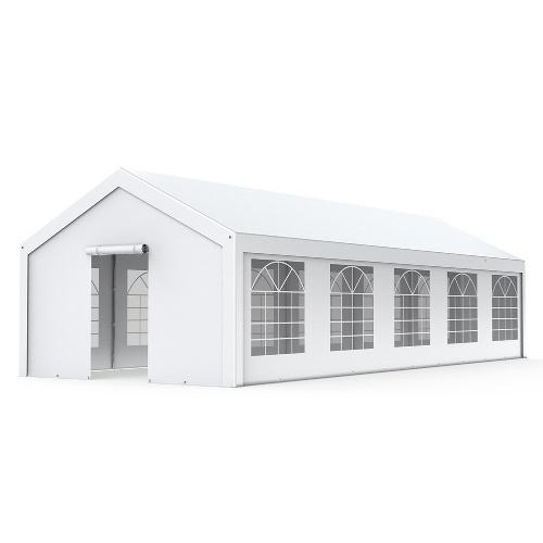 Tente de réception - Chapiteau 4x10m en PE 180g/m² avec œillets en inox Blanc uni