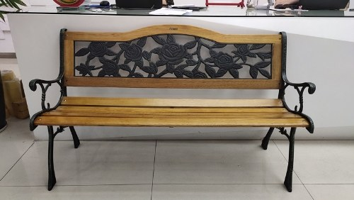 "Festnight Garden Bench 49.2"" Steel and Wood Black"