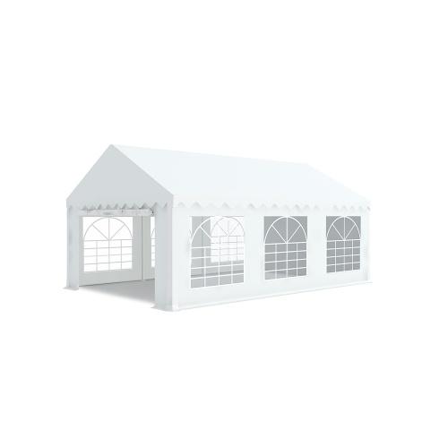 Tente de réception 4x6m pvc 480g/m2 tube38mm Classique avec oeillets en inox Blanc uni.