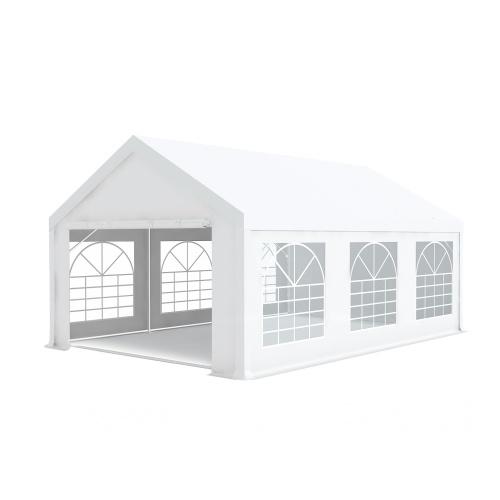 Tente de réception 4x6m pvc 500g/m2 tube 50mm Classique avec oeillets en inox Blanc uni.