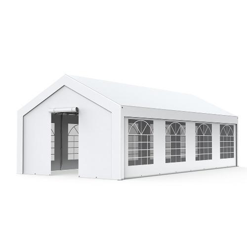 Tente de réception - Chapiteau 4x8m en PE 180g/m² avec œillets en inox Blanc uni