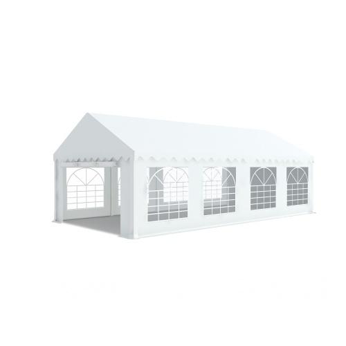 Tente de réception 4x8m pvc 480g/m2 tube38mm Classique avec oeillets en inox Blanc uni.