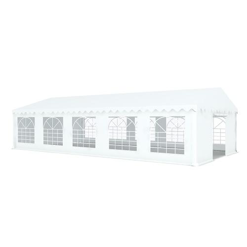 Tente de réception 5x10m pvc 480g/m2 tube38mm Classique avec oeillets en inox Blanc uni.