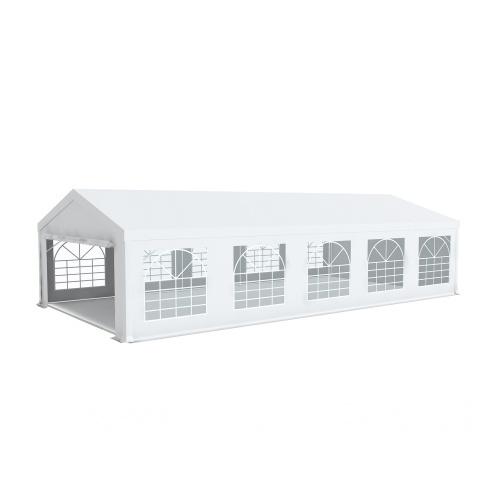Tente de réception 5x10m PVC 500g/m2 tube 50mm Prémium Plus avec oeillets en inox Blanc uni