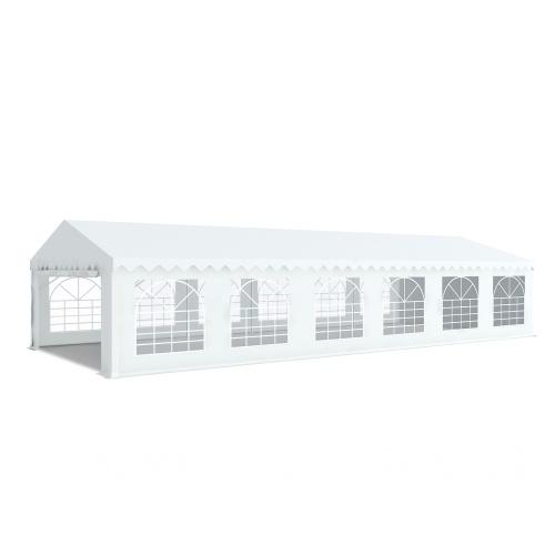 Tente de réception 5x12m pvc 480g/m2 tube38mm Classique avec oeillets en inox Blanc uni.