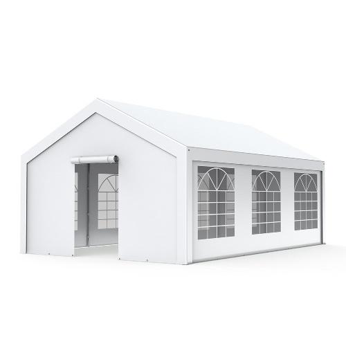 Tente de réception - Chapiteau 5x6m en PE 180g/m² avec œillets en inox Blanc uni