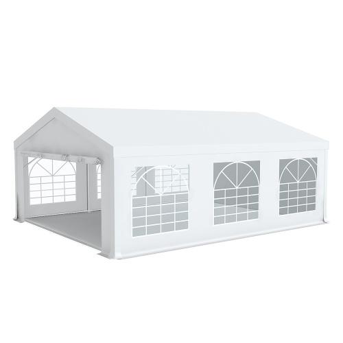Tente de réception 5x6m pvc 500g/m2 tube 50mm Classique avec oeillets en inox Blanc uni.
