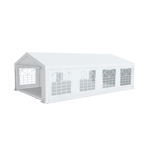 Tente de réception 5x8m pvc 500g/m2 tube 50mm Prémium Plus avec oeillets en inox Blanc uni