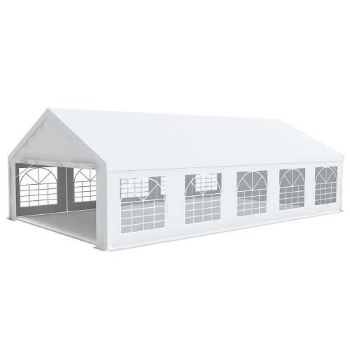 Tente de réception 6x12m pvc 500g/m2 tube 50mm Classique avec oeillets en inox Blanc uni.