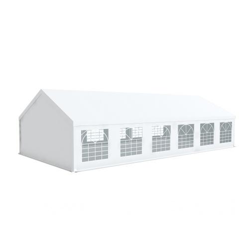 Tente de réception 6x12m pvc 500g/m2 tube 50mm Prémium Plus avec oeillets en inox Blanc uni.