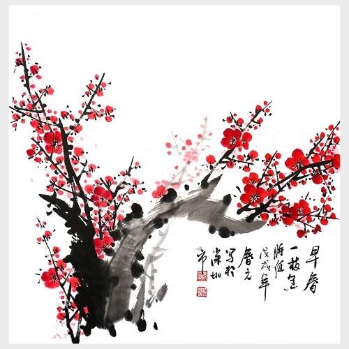 Traditionelle chinesische Malerei Early Spring Wandkunst Modern Home Decor für Wohnzimmer Schlafzimmer