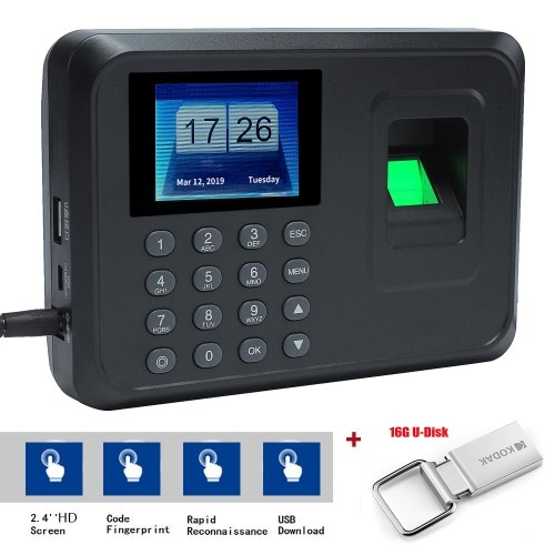 KKmoon Fingerprint Machine  Fingerprint Attendance Machine Employee Checking-in Recorder Intelligent Fingerprint Biometric Password  2.4 inch TFT LCD Screen DC 5V Time Attendance Clock