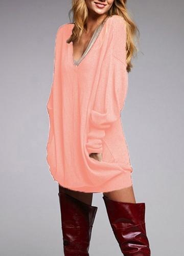 Nueva moda mujer camiseta cuello en V profundo de manga larga de imitación de bolsillo diseño sólido suelta Tops casuales largos