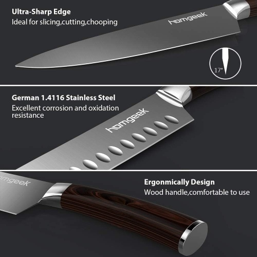 2 Piece Gift Set Wood Handle Germany Steel Chef Knife & Santoku Knife Set