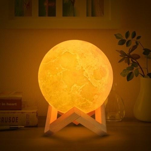 3D-Druck Mondlicht Schlafzimmer Dekor mit Holzständer - 12cm