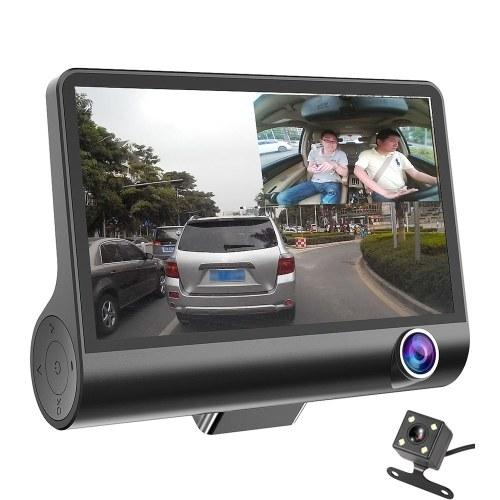 4 pulgada 3 lente 1080P cámara del coche DVR Video que conduce el registrador con la visión nocturna