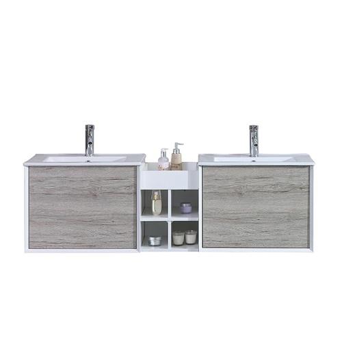 Meuble double vasque gris avec étagère centrale