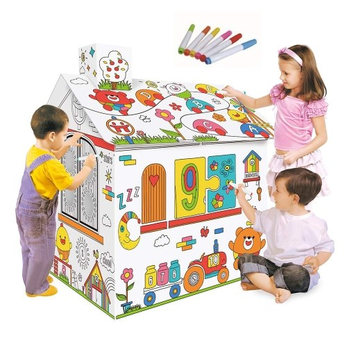 DIY Large Cardboard Coloring Creative Crafts Play House Project Assemble and Paint Educational Toys 2.2 Feet Tall For Kids Age 2,3,4,5,6,7,8