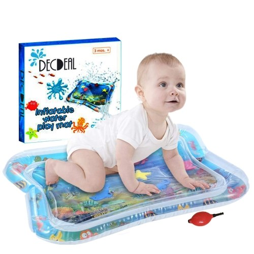 Decdeal Inflatable Baby Water Mat Infant Tummy Time Playmat Toddler Fun Activity Play Center