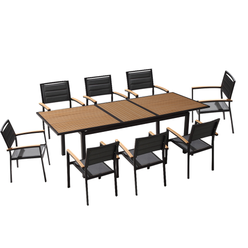 Ensemble de jardin table extensible 240cm et 8 chaises polywood et textilène noir
