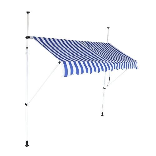 Store banne mobile 2.50m auvent avancée de toit rétractable manuel rayures bleu/blanc