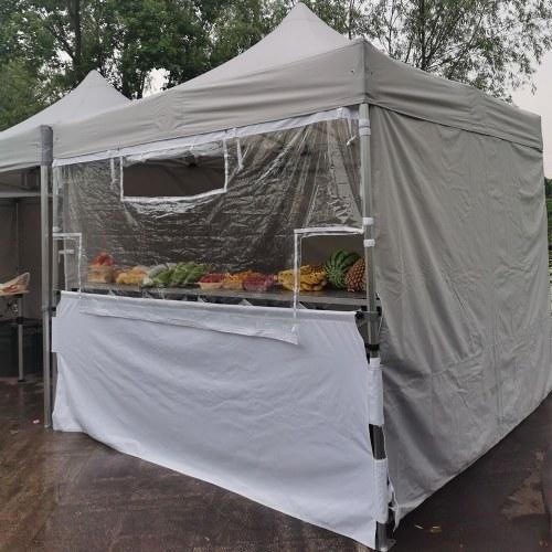 Tente pliante 3x3 Acier 32 vitre de protection + comptoir + murs