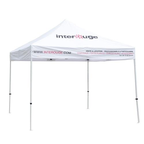 Tente pliante 3x3m tube acier 32mm toit logoté Interouge 2 faces imperméable