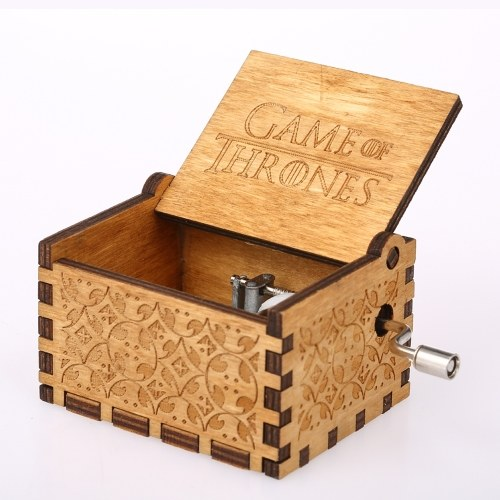 Vintage Wooden Theme Song Music Box Hand-operated Carved Engraving Music Case Creative Holiday Birthday Gifts for Kids