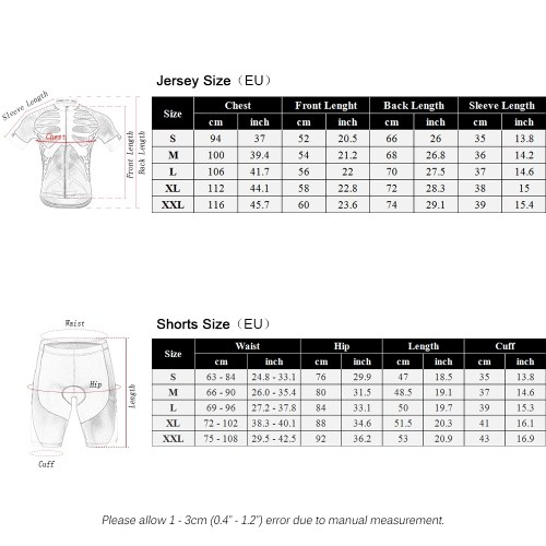 docooler Men Women Breathable Outdoor Short Sleeve Cycling Jersey 3D Padded Shorts Set