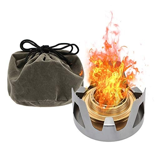 Lixada Mini Alcohol Burner Stove Copper Alloy Solo Spirit Stove Outdoor Camping Stove for Backpacking, Camping, Hiking (4 Colors Optional)