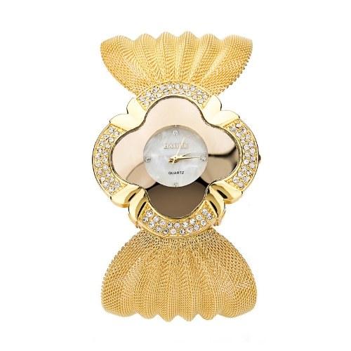 Европейские и американские модные роскошные часы-браслет с яркими бриллиантами и бабочками, сетчатый пояс, женские кварцевые часы, оптом, золото