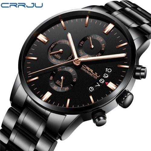 CRRJU/Kajun men's watch fashion multifunctional business casual watch week calendar dual display fashion watch Belt-all black and silver nails