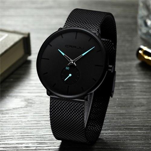 Взрывоопасные CRRJU / Kajun 2150 новые мужские часы горячие продажи повседневные индивидуальные часы модные популярные студенческие часы черный пояс игла с синей розой