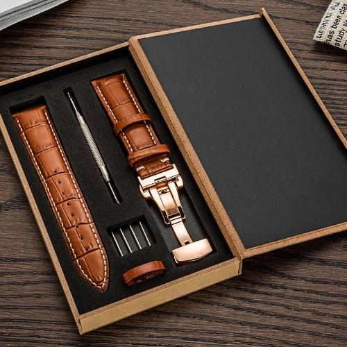 La première couche de montre en cuir de vachette avec boucle papillon à double bouton Bracelet à motif flammé Accessoires de montre Un dropshipping (moyen 18 mm nouveau bracelet marron clair (noir) fermoir papillon à double bouton + boîte en bois